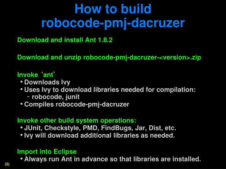 How to build robocode pmj dacruzer