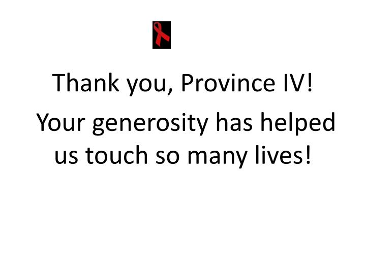 Thank you, Province IV!