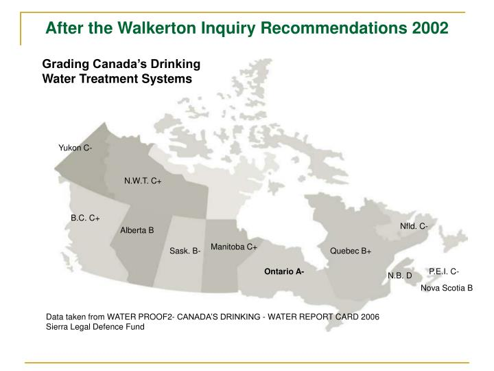 After the Walkerton Inquiry Recommendations 2002