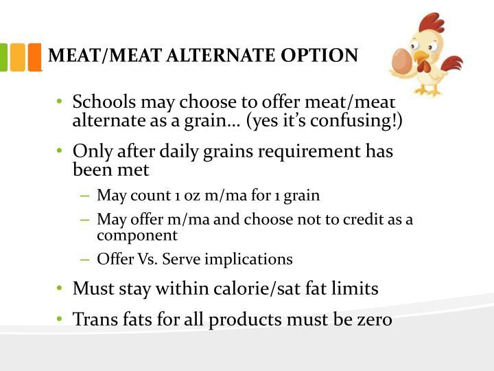 MEAT/MEAT ALTERNATE OPTION