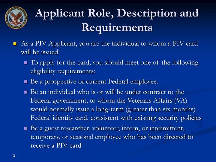 Applicant Role, Description and Requirements