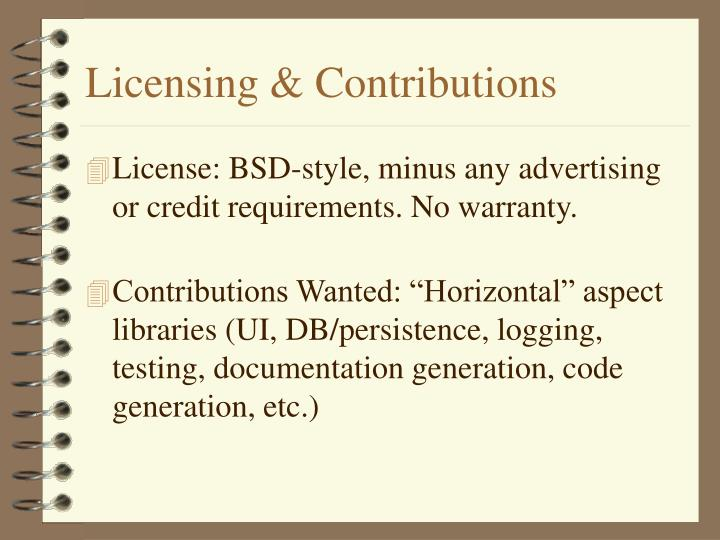 Licensing & Contributions