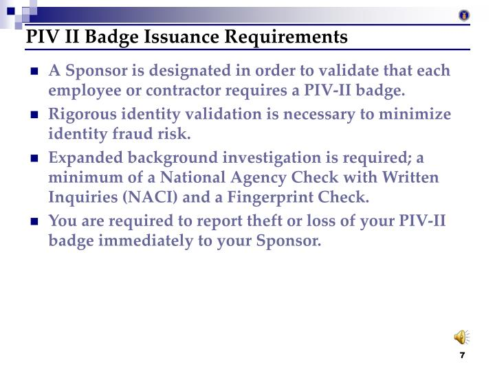 PIV II Badge Issuance Requirements