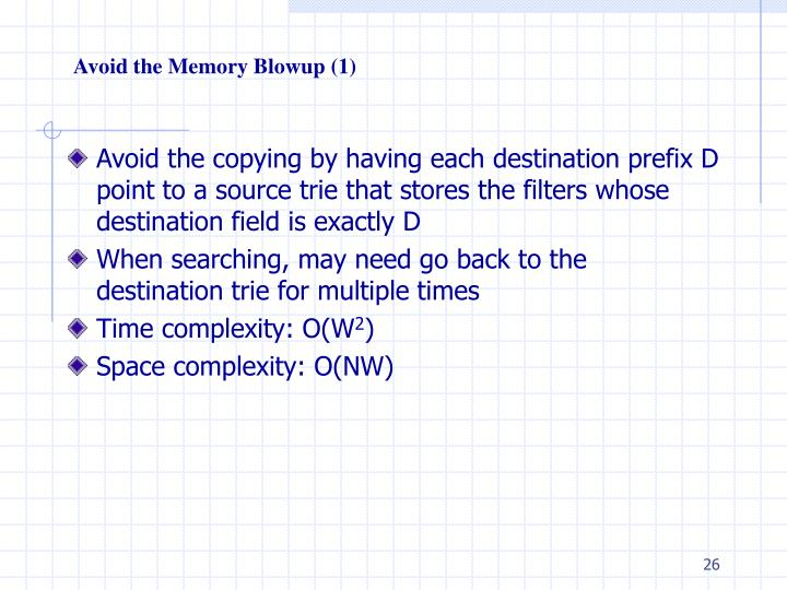 Avoid the Memory Blowup (1)
