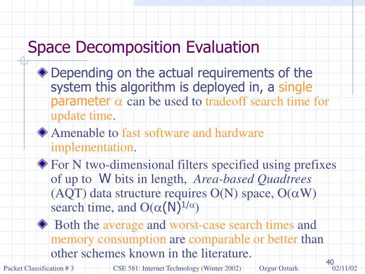 Space Decomposition Evaluation