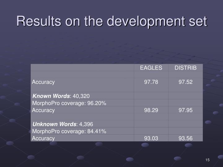 Results on the development set