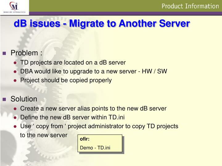dB issues - Migrate to Another Server