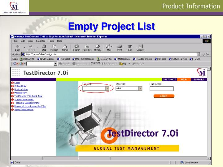 Empty Project List