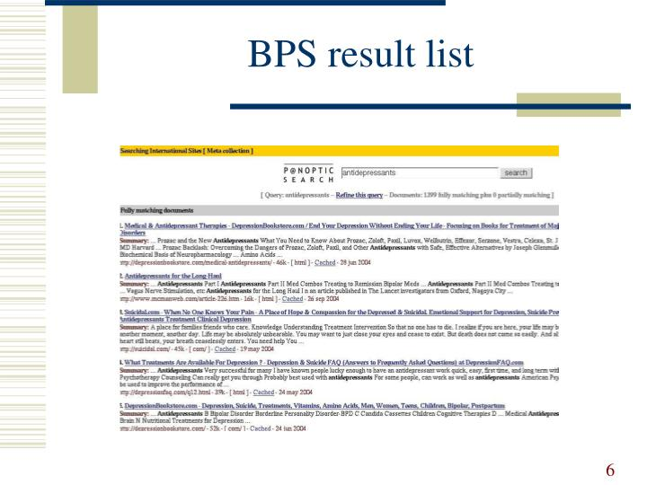 BPS result list