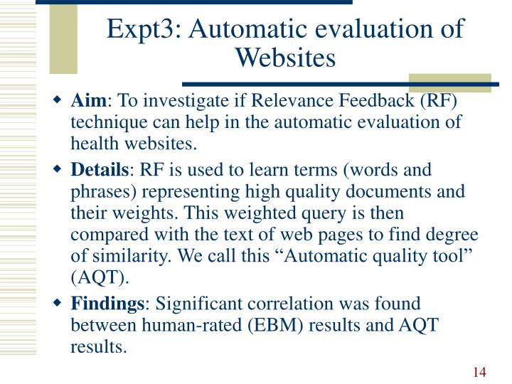 Expt3: Automatic evaluation of Websites