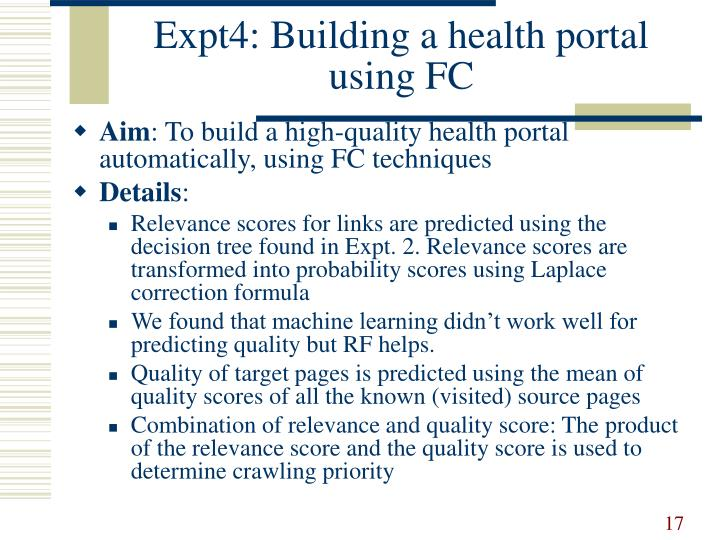 Expt4: Building a health portal using FC