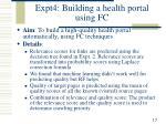 expt4 building a health portal using fc