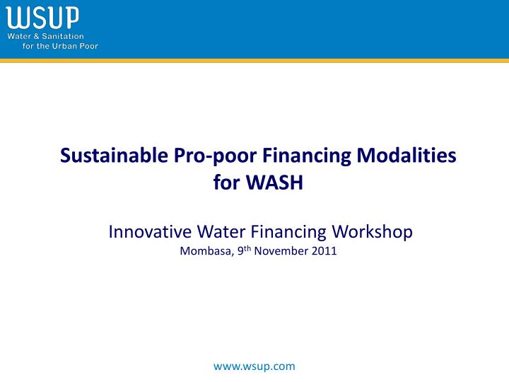 Sustainable Pro-poor Financing Modalities for WASH