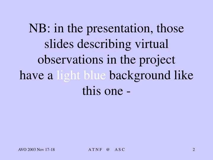 NB: in the presentation, those slides describing virtual observations in the project