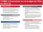 10 md d conomies sur le budget de l etat en 2013 2