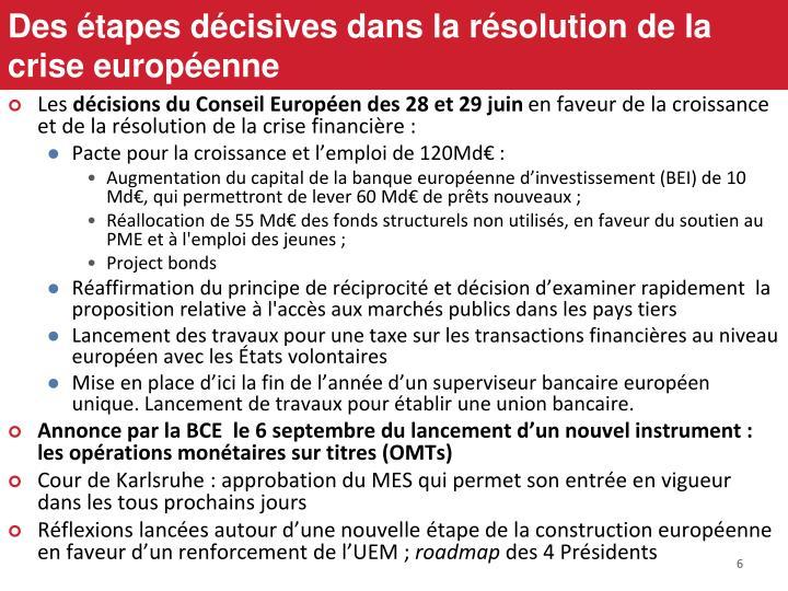 Des étapes décisives dans la résolution de la crise européenne