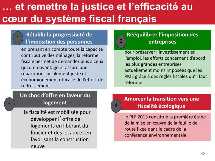 … et remettre la justice et l'efficacité au cœur du système fiscal français