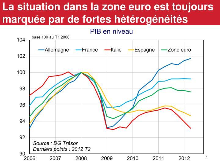 La situation dans la zone euro est toujours marquée par de fortes hétérogénéités