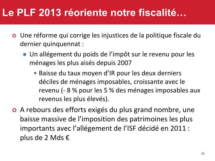 Le PLF 2013 réoriente notre fiscalité…