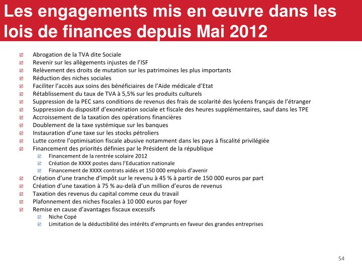 Les engagements mis en œuvre dans les lois de finances depuis Mai 2012