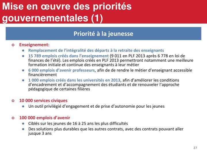 Mise en œuvre des priorités gouvernementales (1)