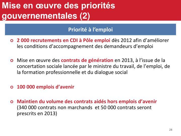 Mise en œuvre des priorités gouvernementales (2)