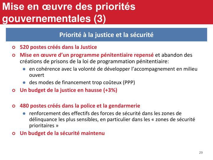 Mise en œuvre des priorités gouvernementales (3)