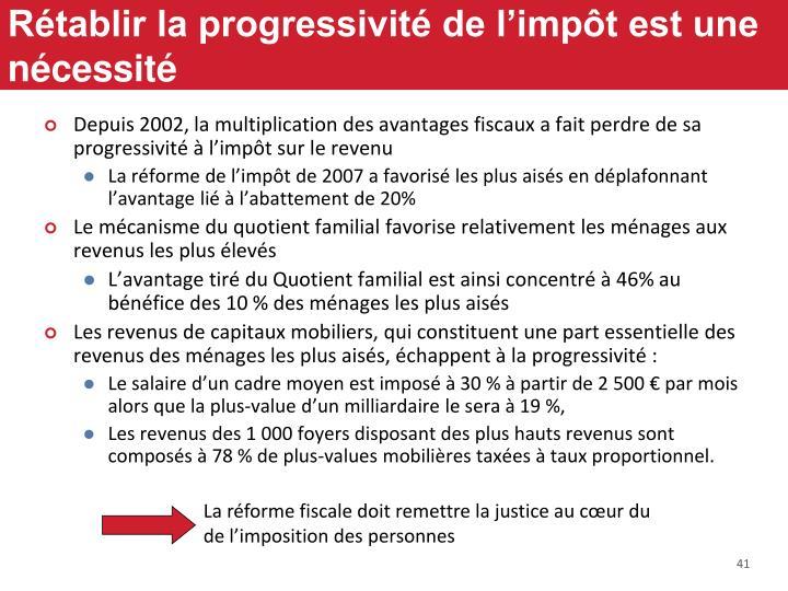 Rétablir la progressivité de l'impôt est une nécessité