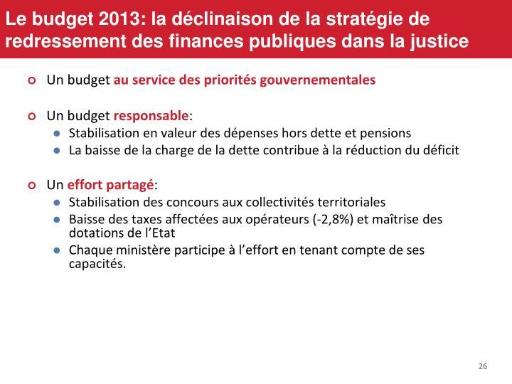 Le budget 2013: la déclinaison de la stratégie de redressement des finances publiques dans la justice