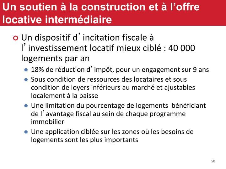 Un soutien à la construction et à l'offre locative intermédiaire
