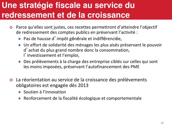 Une stratégie fiscale au service du redressement et de la croissance