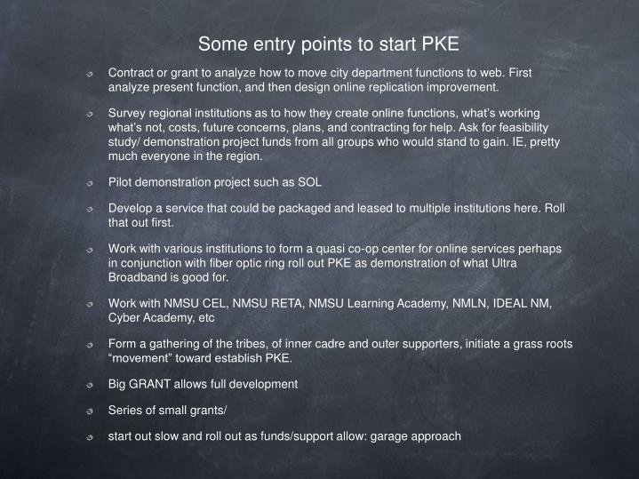 Some entry points to start PKE