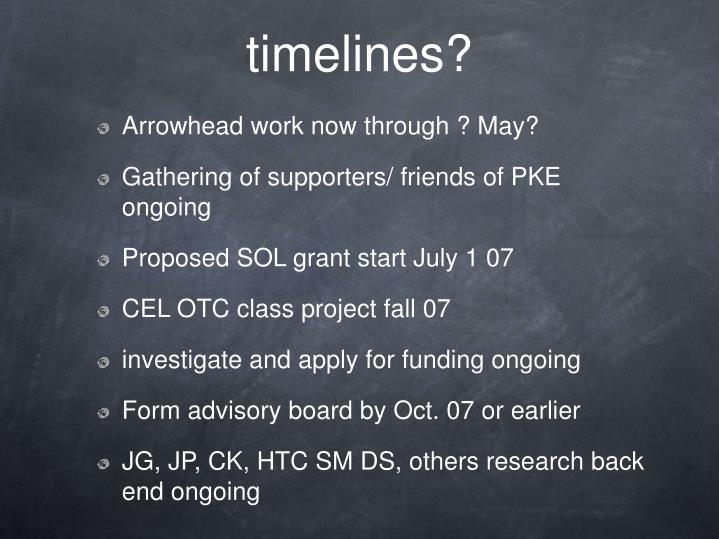 timelines?