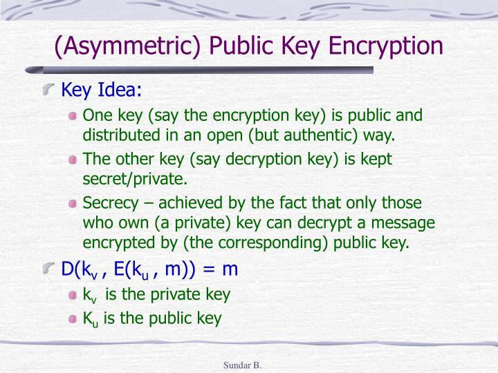 (Asymmetric) Public Key Encryption