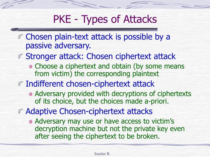 PKE - Types of Attacks