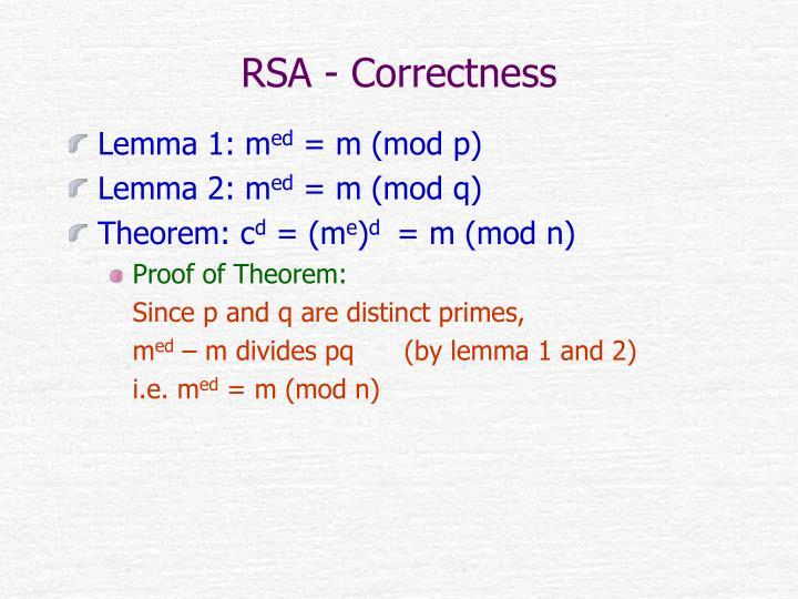 RSA - Correctness