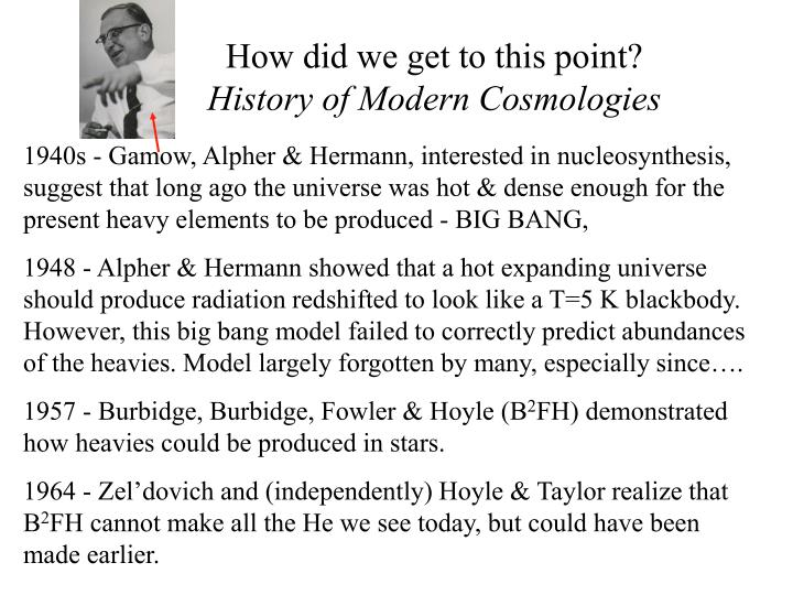 How did we get to this point history of modern cosmologies
