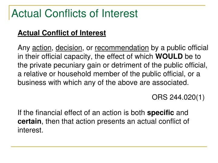 Actual Conflicts of Interest