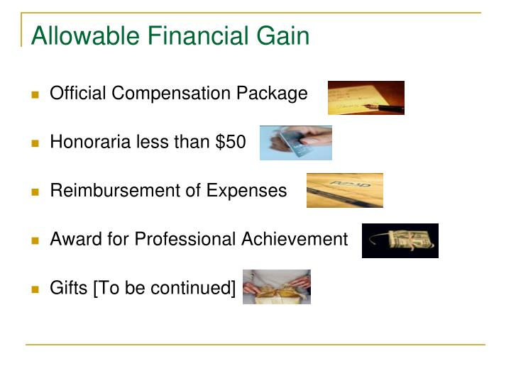 Allowable Financial Gain