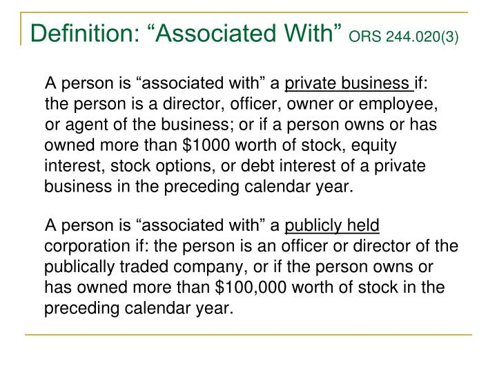 """Definition: """"Associated With"""""""