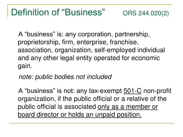 """Definition of """"Business"""""""