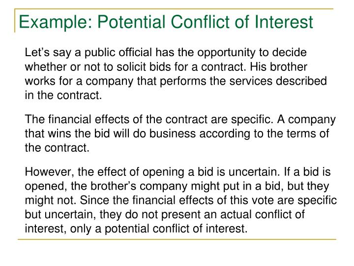 Example: Potential Conflict of Interest