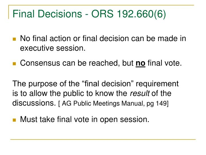 Final Decisions - ORS 192.660(6)