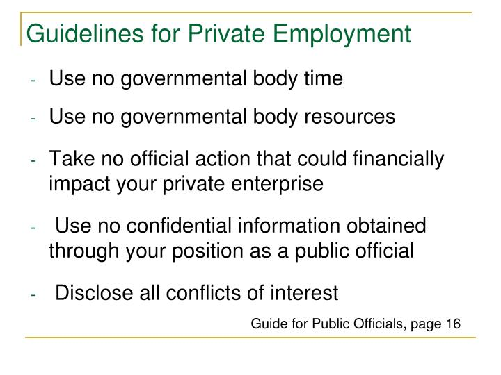 Guidelines for Private Employment