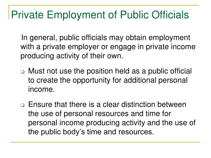 Private Employment of Public Officials