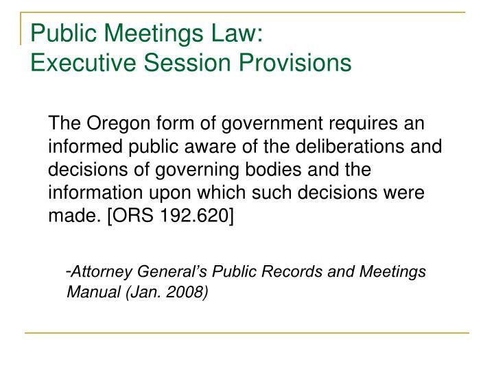 Public Meetings Law: