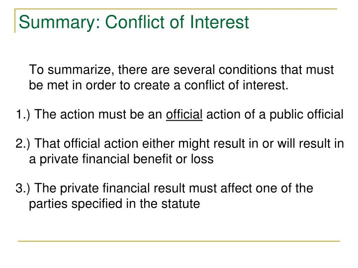 Summary: Conflict of Interest