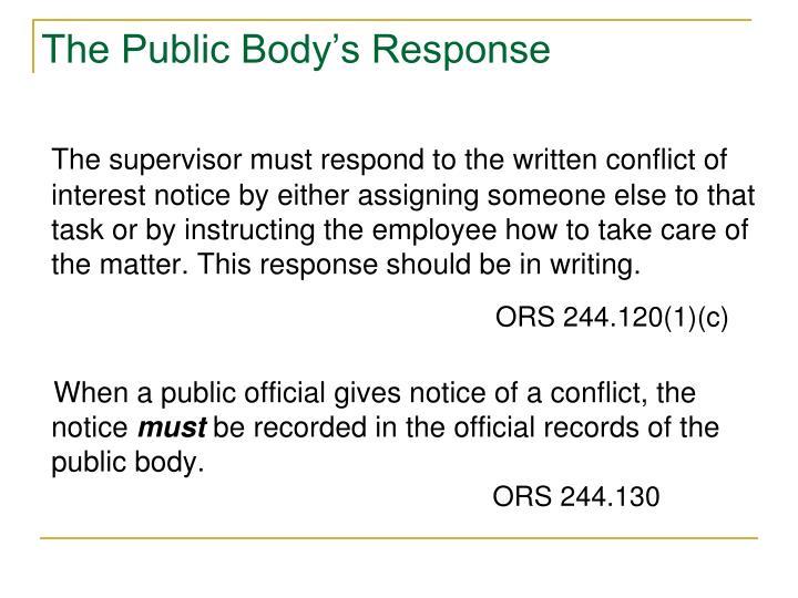 The Public Body's Response