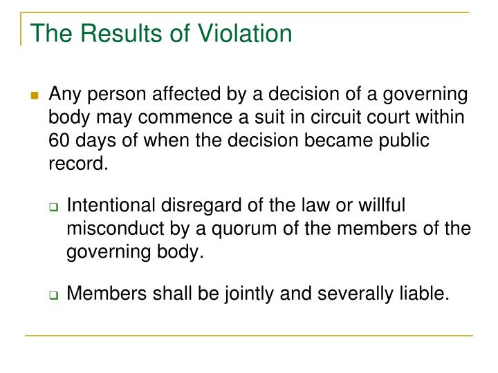 The Results of Violation