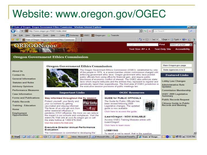 Website: www.oregon.gov/OGEC